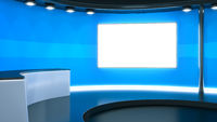 a blue television studio background