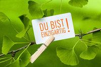 The Words Du bist einzigartig! in a Ginkgo Tree