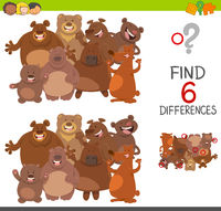 spot differences game with bears