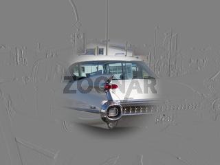 Cadillac Sedan deVille (um 1960) in einer verfremd