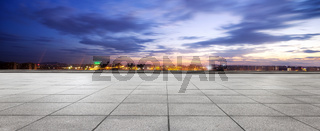 empty floor and cityscape of modern city