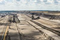 Schaufelradbagger build from the last overburden over the coal layer of the opencast mine Garzweiler