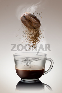 pours instant coffee in a cup