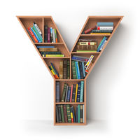 Letter Y. Alphabet in the form of shelves with books isolated on white.