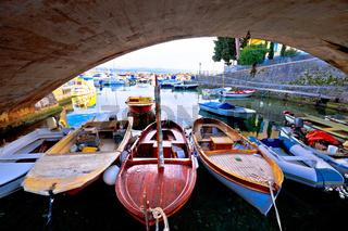 Icici village bridge and harbor in Opatija riviera view
