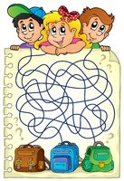 Maze 23 with children and schoolbags - picture illustration.