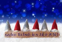 Gnomes, Blue Bokeh, Stars, Guten Rutsch 2018 Means New Year