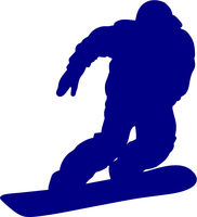 Blue silhouette of a snowboarder descending the mountain slope