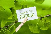 The Words  Entfalte Dein Potenzial in a Ginkgo Tree