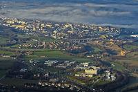 Bird's eye view on the technology park Archamps Technopole, Archamps, Haute-Savoie, France