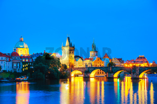 Overview of Prague at night