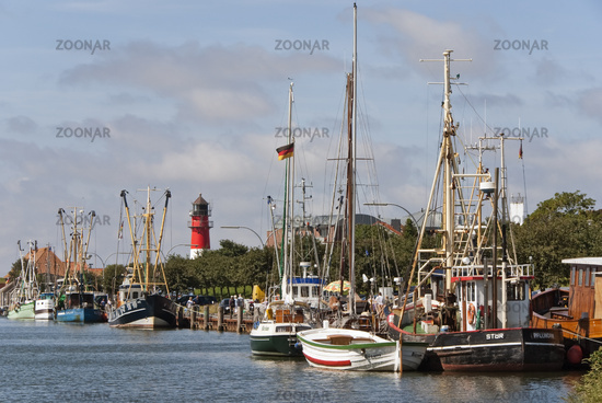 Harbor with lighthouse in Buesum