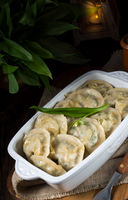 pierogi with wild garlic filling