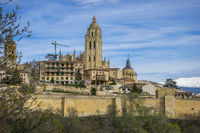 Cathedral, aerial views of the Spanish city of Segovia. Ancient Roman and medieval city