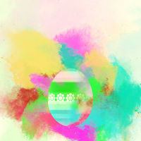 Easter egg on a watercolor background. Bright colors. Digital art