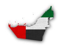 Karte und Fahne der Vereinigten Arabischen Emirate auf  altem Leinen - Map and flag of United Arab Emirates on old linen