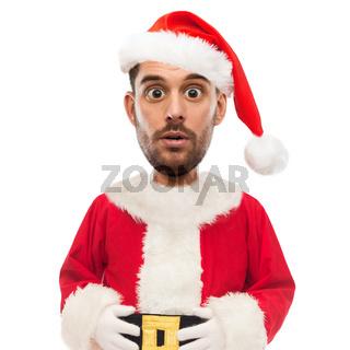 surprised man in santa claus costume over white