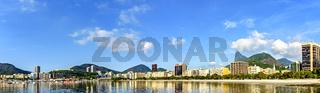 Botafogo beach sea, hills and buildings