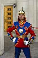 Guardsman of the Mongolian Armed Forces Honorary Guard in traditional uniform,Ulaanbaatar, Mongolia