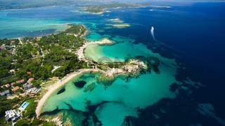 Sea islands under clear blue sky