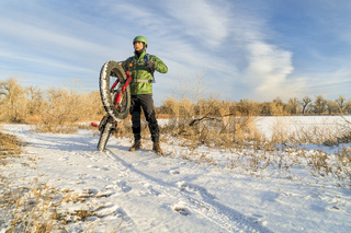 riding fat bike in winter