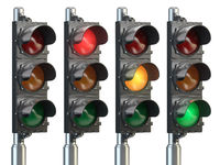 Traffic lights isolated on white background.