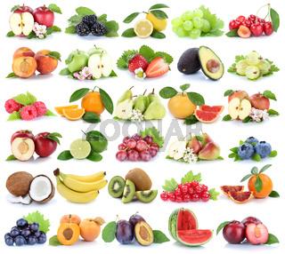 Früchte Frucht Obst Collage Apfel Orange Banane Orangen Erdbeere Äpfel Trauben Kirschen Freisteller freigestellt isoliert