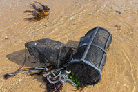 Reuse Käfig Krabben Hummer Meer in der Bretange am Atlantik