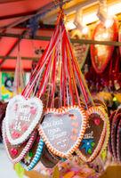 Gingerbread hearts sold on the Oktoberfest