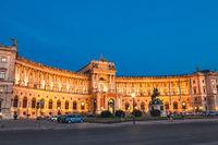 Hofburg palace at night in Vienna Austria