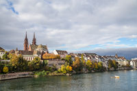 Rhine river and Basel Minster