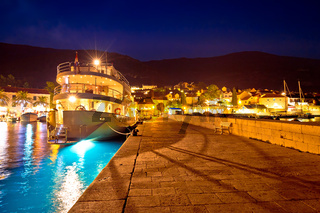 Town of Bol on Brac island harbor at blue hour view