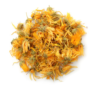 Top view of dried calendula flowers