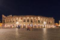 Arena in Verona, Italy in a night in springtime