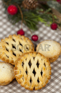 Lattice top mince pies on a christmas country table