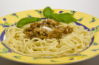 Spaghetti bolognese served on plate