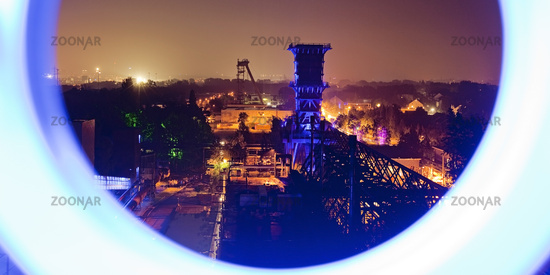 view from the coal tower at coking plant Hansa at night, Dortmund, Ruhr Area, Germany