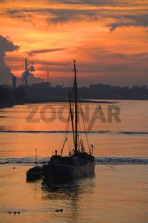 Aalschoker auf dem Rhein bei Monheim am Rhein,Rheinland,NRW,Deutschland