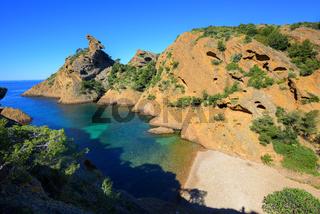 Mediterranean beach Figuerolles by Marseilles, France