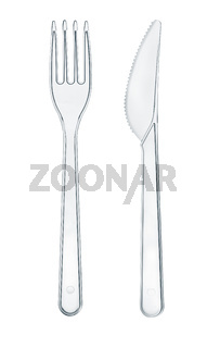 Disposable transparent plastic knife and fork
