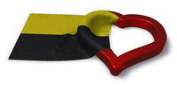 flagge von sachsen-anhalt und herzsymbol - 3d illustration
