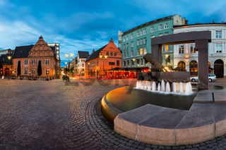 Panorama of Fountain and Sculpture of King Christian IV Hand in the Evening, Oslo, Norway