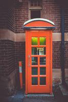 Vintage UK red phone booth