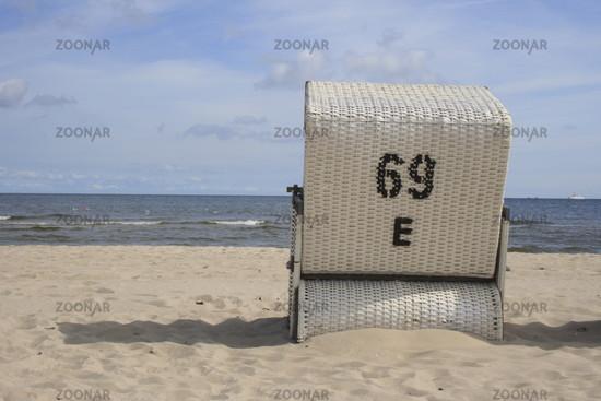 beach chair at the beach of Usedom, Baltic Sea
