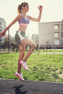 jumping at outdoor