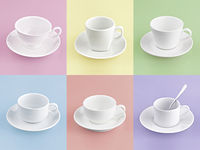 Set of different cup of coffee on many color background