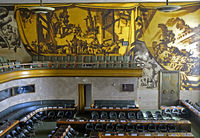 Murals in the Council Chamber, Palais des Nations, United Nations, Geneva, Switzerland