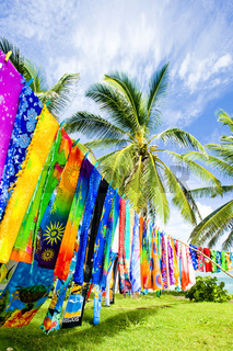 typical fabrics, Bathsheba, East coast of Barbados, Caribbean