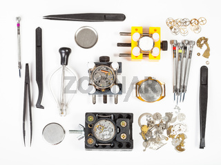 top view of watch repairing tools