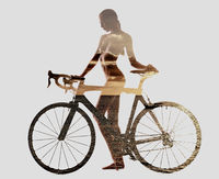 Double exposure of a naked woman with bicycle combined with sunset above the sea. Isolated on a white background